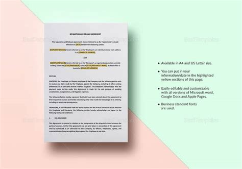 sle business separation agreement template 9 free