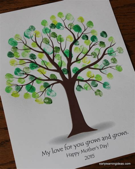 fingerprint tree card template make custom colored ink pads early learning ideas