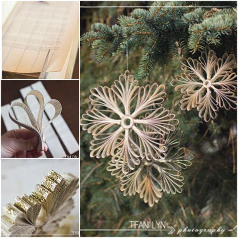 How To Make Paper Snowflake Ornaments - diy paper book snowflake ornaments beesdiy