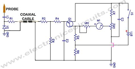 probe circuit diagram sensitive rf voltmeter probe electronic circuits