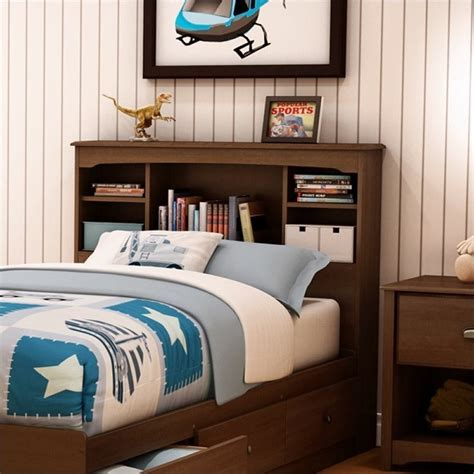 kids twin headboards south shore nathan kids twin bookcase headboard in cherry
