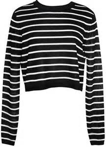 Cropped striped sweater black and white horizontal striped crew neck