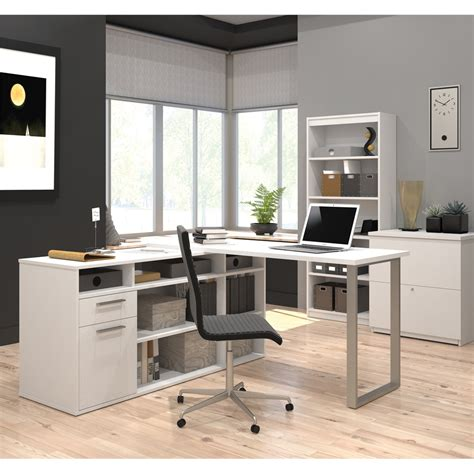 Solay L Shaped Desk With Lateral File And Bookcase In White L Shaped Desk With Bookcase