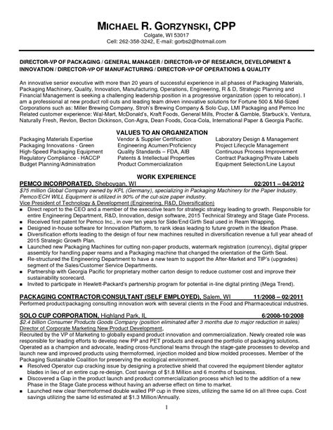 senior project manager resume sle career objective for production engineer 28 images