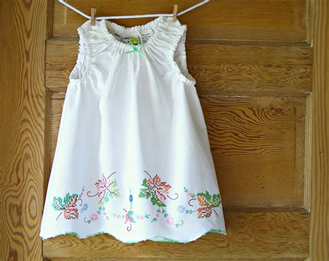 Handmade Vintage Dresses - handmade baby dress 24m shabby chic vintage pillowcase