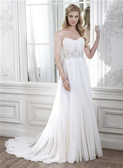 Destination Wedding Dresses by A Line Strapless Chiffon Beaded Destination Wedding