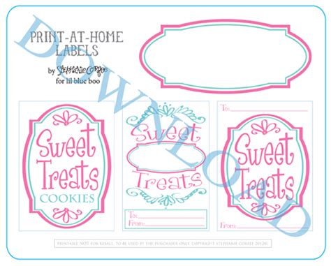 Felt Cookies And Pastry Labels A Free Printable Baked Goods Label Templates