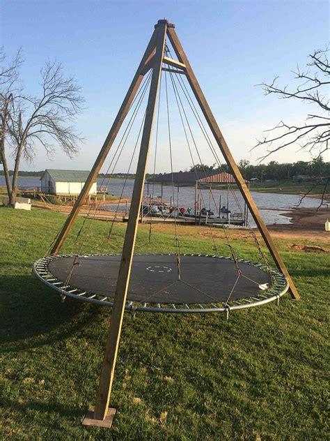 Pool Care Tips hometalk trampoline turned backyard lounge swing
