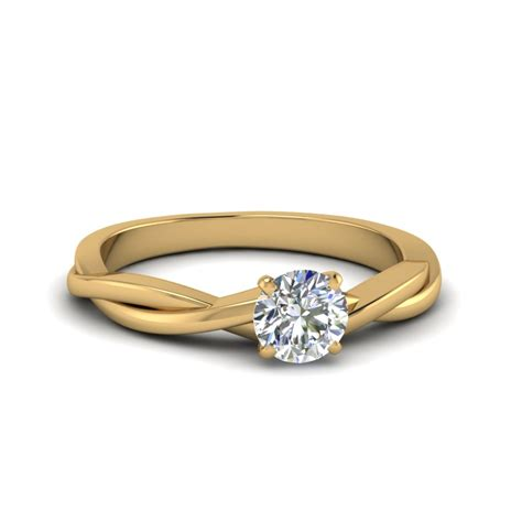 Round Cut Braided Single Diamond Engagement Ring In 14K