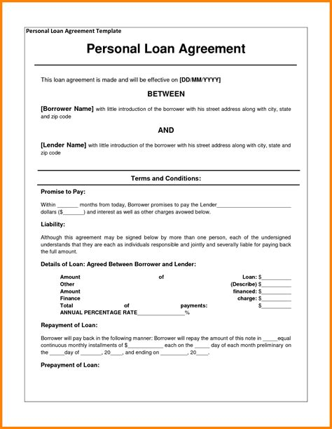 personal loan template word 7 personal loan agreement template microsoft word land