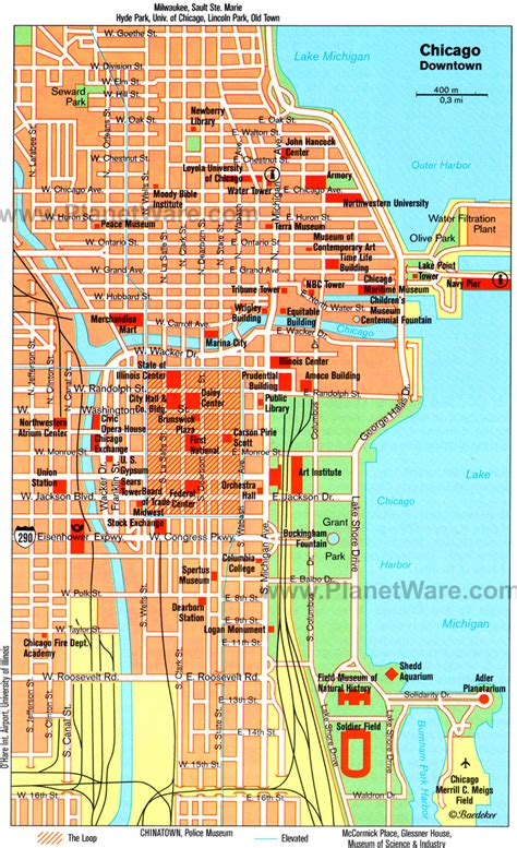 chicago map for maps of downtown chicago attractions search engine