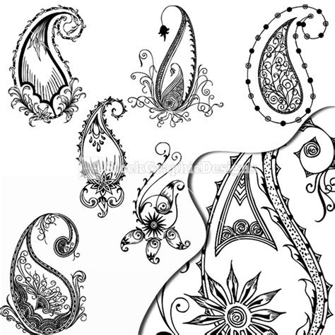 paisley pattern drawing hand drawn paisley designs vector set stockgraphicdesigns
