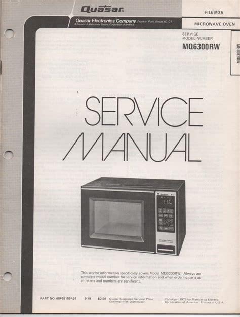 Quasar Mq6300rw Microwave Oven Operating Service Manual