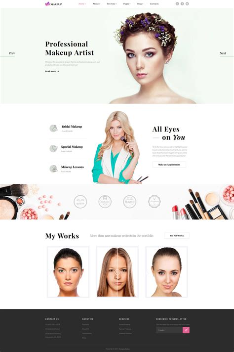 Makeup Artist Website Template Cosmetic Website Templates
