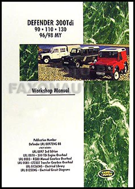 book repair manual 1997 land rover defender 90 regenerative braking land rover defender shop manual 1996 1997 1998 300tdi 90 110 130 repair workshop ebay