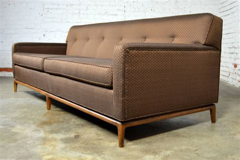 tuxedo style sofa mid century modern tufted tight back tuxedo sofa on walnut