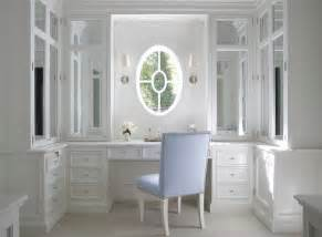 built in vanity transitional closet design