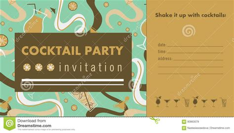 cocktail invitation card template cocktail horizontal invitation card template with