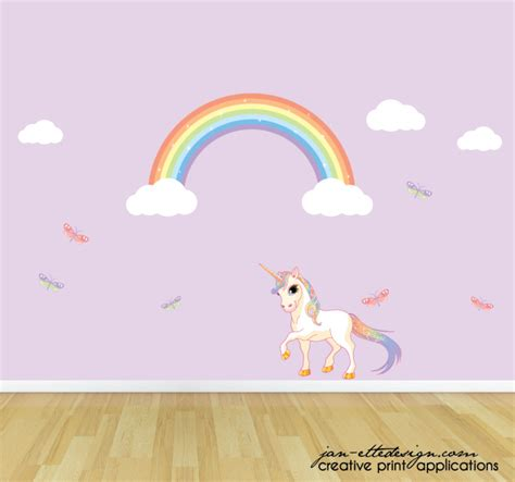 girls pastel rainbow unicorn and butterflies wall decal