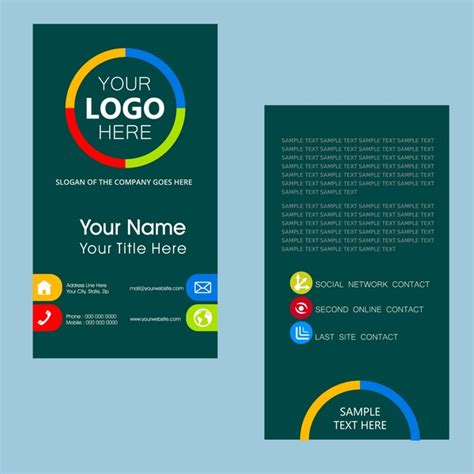 name card template with color vertical design free