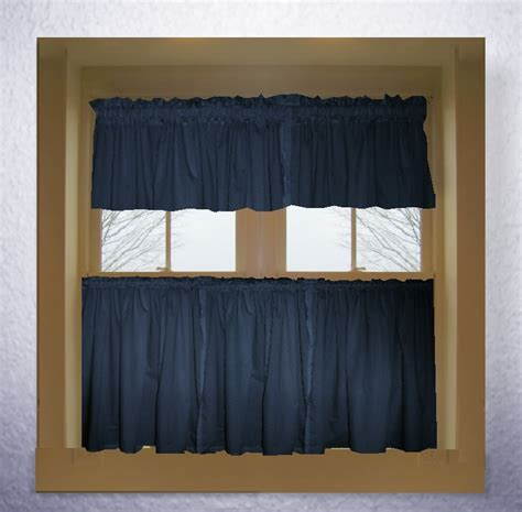 blue curtain valance navy blue color tier kitchen curtain two panel set