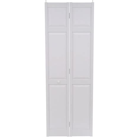 bifold closet doors 28 x 80 home fashion technologies 28 in x 80 in 6 panel white pvc composite interior bi fold door