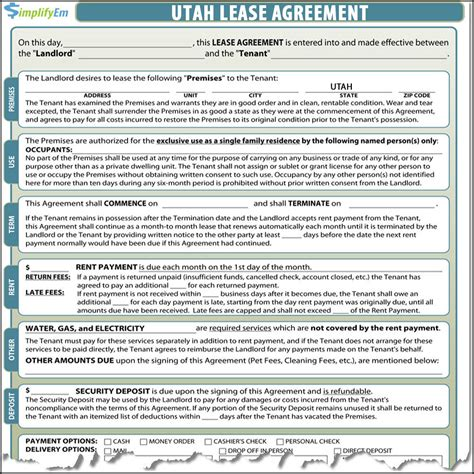 Utah Rental Agreement Rental Agreement Template Utah