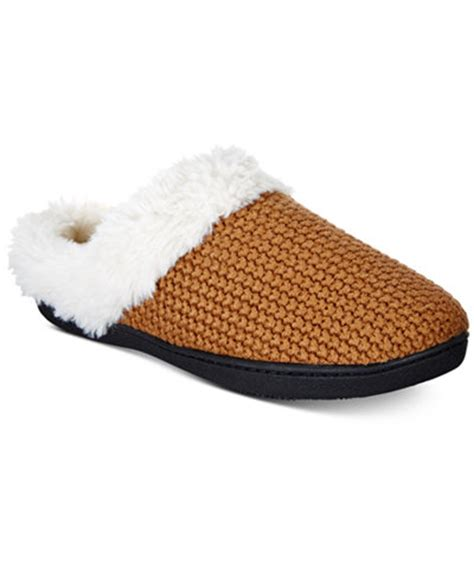 macys womens house slippers isotoner s chunky knit willow hoodback slippers
