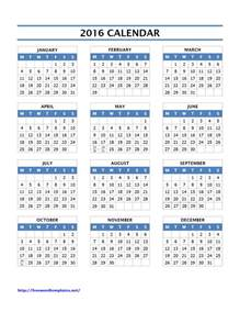 Year Calendar Template Excel by 2016 Year Calendar Template Excel Printable Calendar