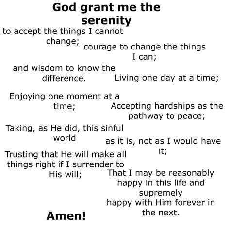 printable version of the serenity prayer serenity prayer