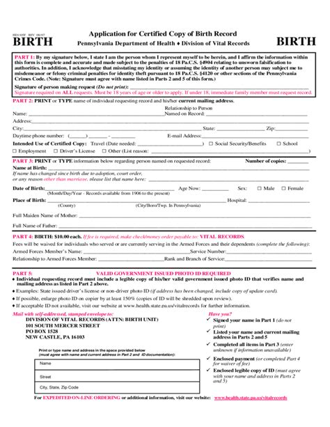 Application For Birth Record Application For Certified Copy Of Birth Record Pennsylvania Free