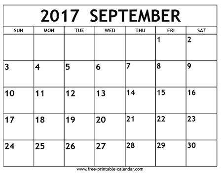 Calendar 2017 September Printable Free September 2017 Calendar Printable Template With Holidays Pdf