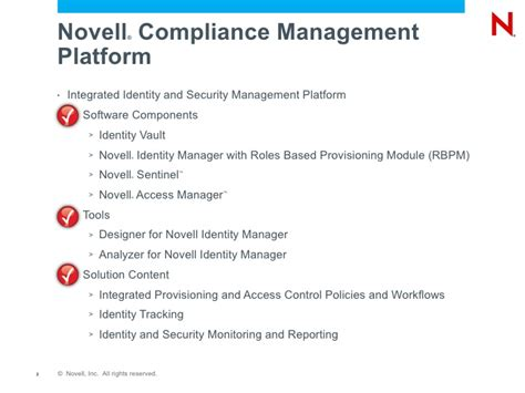 Compliance Administration by Implementing Process Controls And Risk Management With Novell Complia