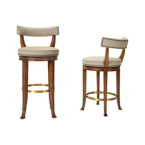 Curved Back Counter Stool by Hickory Chair 1911 Collection Newbury Swivel Curved Back