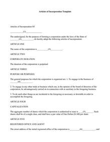 california articles of incorporation template articles of incorporation template free