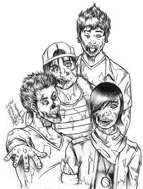 four zombie coloring page digital sts coloring pages