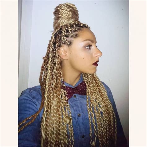 blonde large senegalese twists golden blonde top knot hairstyles pinterest golden