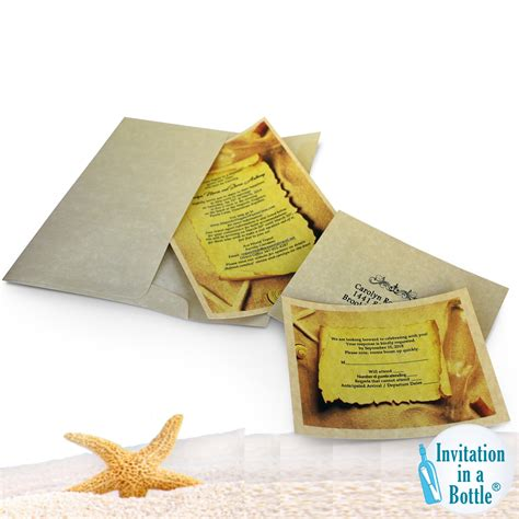 message in a bottle theme paper invitations response cards