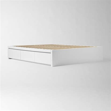 white platform bed frame storage platform bed frame white west elm