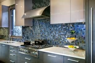 Blue Glass Kitchen Backsplash 18 Gleaming Mosaic Kitchen Backsplash Designs