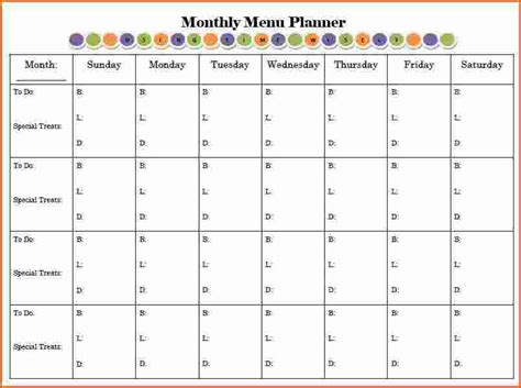 Menu Calendar Template 6 monthly menu planner templatememo templates word memo