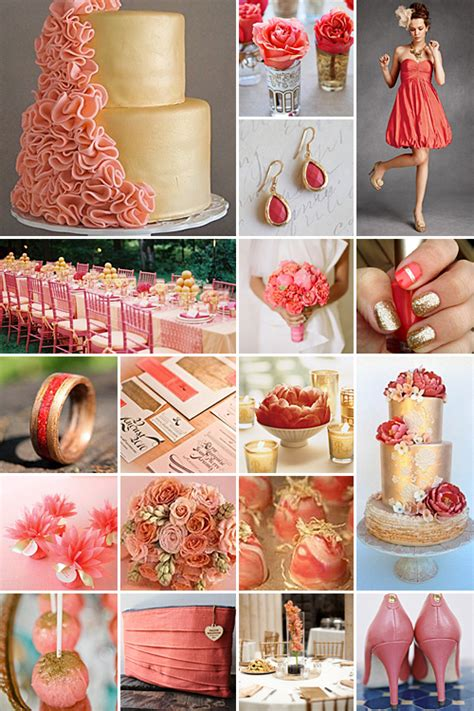coral  gold weddings