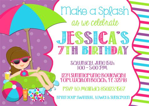 swimming invitation template free swimming pool 5x7 invitation birthday printable