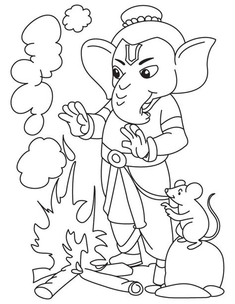 lord ganesha with fire coloring page download free lord