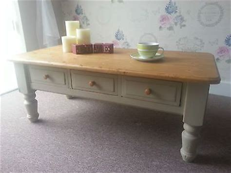 shabby chic coffee table with drawers vintage farmhouse solid pine shabby chic coffee table with