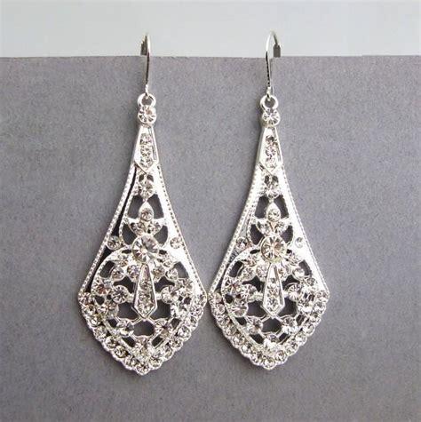 Vintage Bridal Chandelier Earrings Deco Style Silver Filigree Bridal Earrings Bridal Chandelier Earrings Vintage Style
