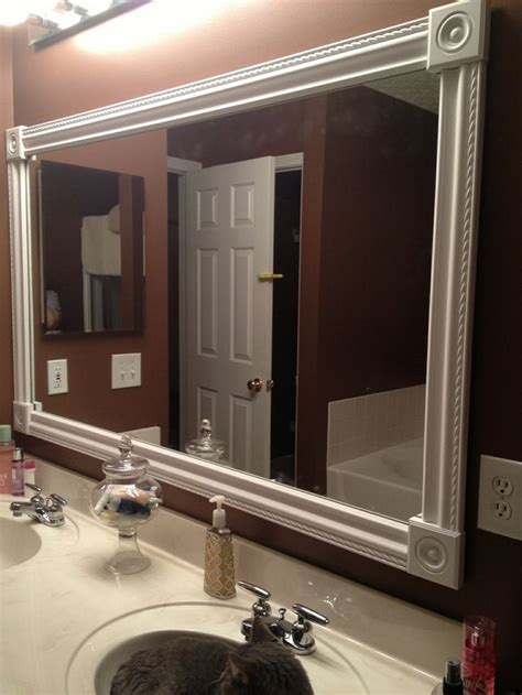 Framing Bathroom Mirror With Molding Diy Bathroom Mirror Frame White Styrofoam Molding Wood Corner Squares And A Craft Glue