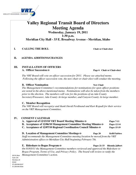 board meeting agenda template 10 best images of board of directors agenda exles