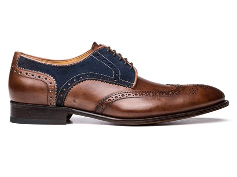 Pictures Of Italian Shoes wingtip shoes in brown leather and blue suede