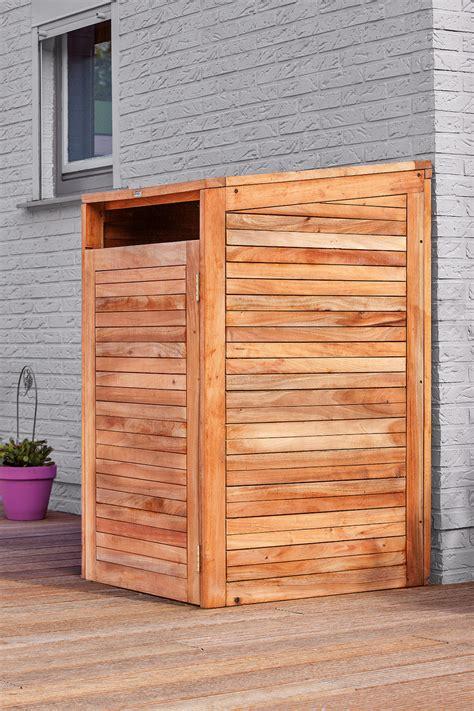 hardwood single wheelie bin store